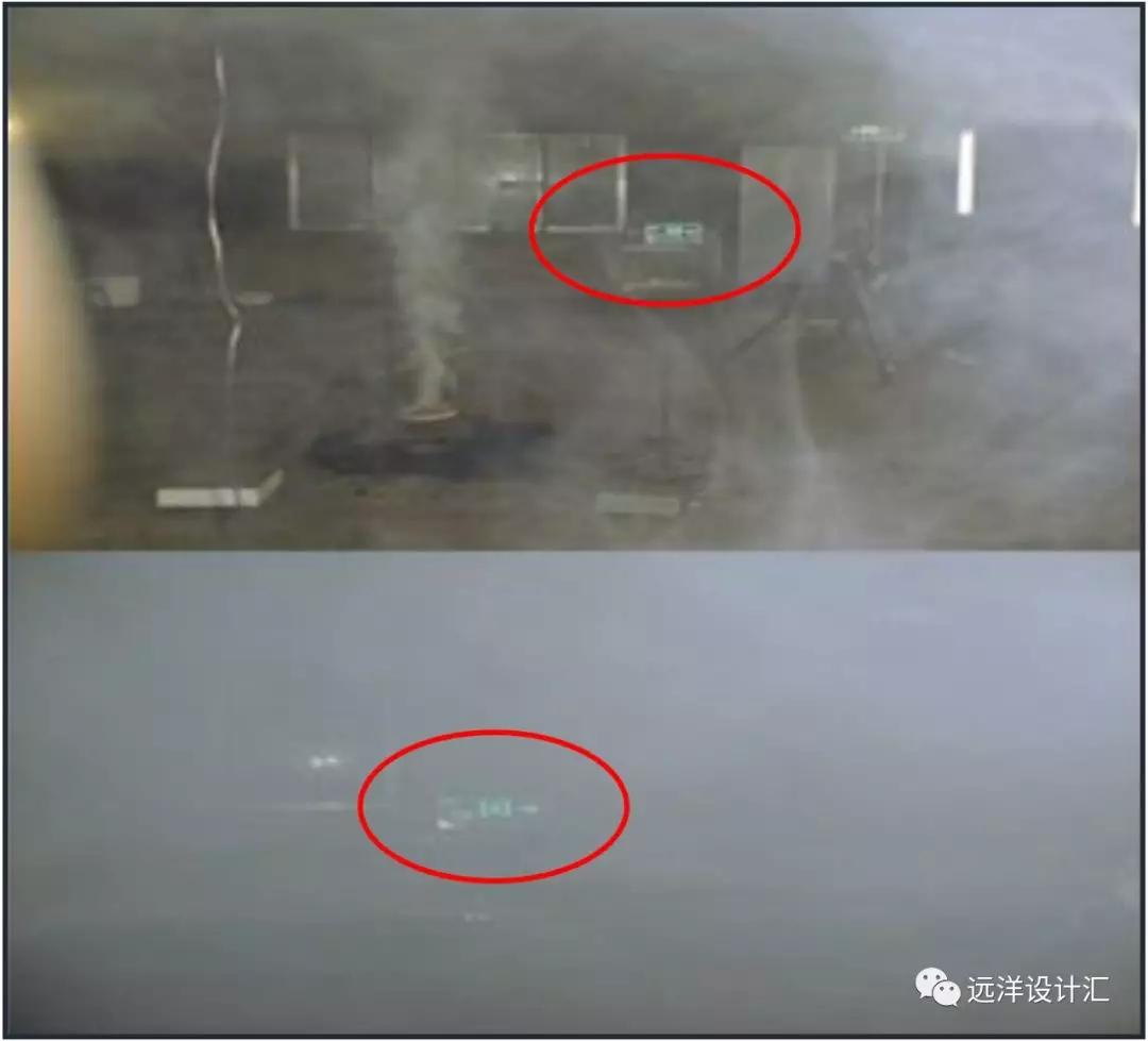 烟雾环境中方向标志灯清晰度图示